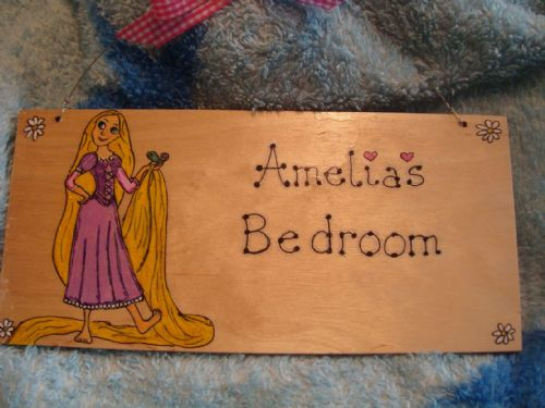 Rapunzel Tangled Large Children's Personalised Wooden Sign, 9.5 x 4 inches Suitable for Any Occasion Unique Any Phrasing bedroom, playhouse etc